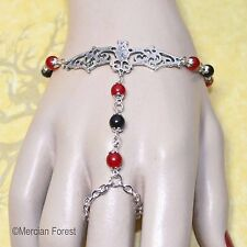 Gothic Bat Bracelet Ring with Ruby and Onyx Gemstones - Handmade Goth Jewellery