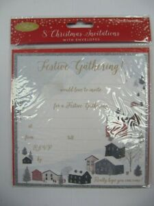 PACK OF 8 WONDERFUL COLOURFUL FESTIVE GATHERING CHRISTMAS PARTY INVITES