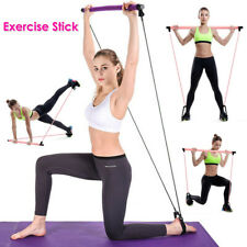 Portable Pilates Bar Kit Tube Resistance Band Adjustable Exercise Stick for Gym