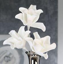 """38056 Blume Foam Flower """"Rumba"""" Schaumstoff 1 Stiel mit 3 Blüten weiß"""