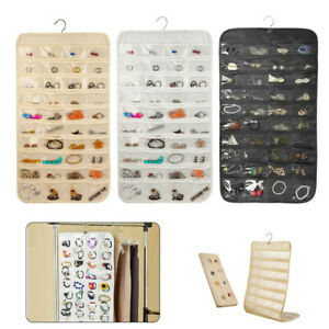 80 Pockets Hanging Jewelry Organizer Closet Proper 2 Side Storage Bag Travel