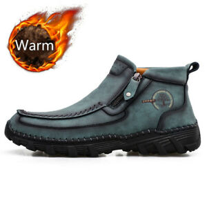Genuine Leather Men's Winter Ankle Boots Warm Fur Snow Boots Non-slip Sneakers