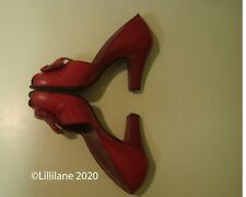 Vintage Authentic 1940's Cherry Red Leather 40's Peep Toe Pumps Pin Up 7.5 Aa