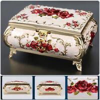 Vintage Jewelry Box Case Zinc-alloy Metal Trinket Box Carved Flower Rose Shaped