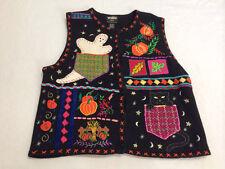 Designers Originals L Large Halloween Black Sweater Vest Ghost Cat Pumpkin Leaf