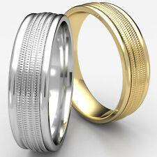 6mm Milgrain Center Round Edge Man Men's Women's Wedding Band White Gold Ring