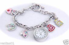Love Charm Bracelet Watch with Numeral dial & Silver Tone Chain