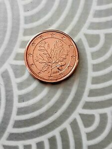 1 cent Allemagne 2005  pile et face pas dans le mème axe