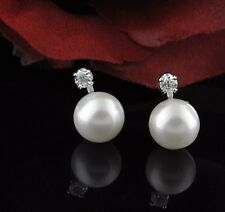 14k Solid White Gold Akoya cultured Pearl  & Diamond Earring  Stud  8 mm  0.10ct