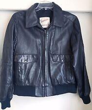 Vintage STARTOWN Black Leather Bomber Jacket Size 44 Regular Super Soft Lamb