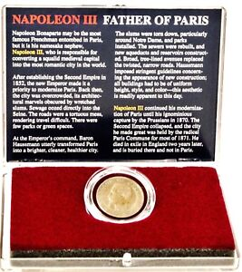 Napoleon III Father of Paris  Bronze 5 Centimes Coin & Clear Box With Story Card