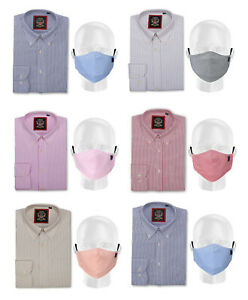 Mens Stripe Oxford Casual Shirt with Face Mask,Cotton Rich Easy Care,Regular