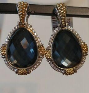 Lagos Gala Pear Shaped Hematite 925 &18k Gold Caviar Beading Drop Earrings NWT