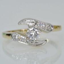 Single Cut Diamond Right Hand Ring Vintage 14k Yellow Gold Milgrain 1/3Cttw