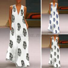 US STOCK Women Sexy Casual Off Shoulder Loose Long Maxi Dress Sundress Plus Size