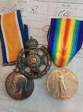 More details for ww1 medal pair and cap badge . 19th (st pancras) battalion london regt