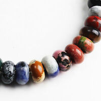 Natural Gemstones Rondelle Spacer Charms Beads for Women DIY Euro Chains Jewelry