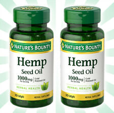 2 Nature's Bounty Hemp Seed Oil Cold Pressed Oil 1000mg 60 Softgels Total