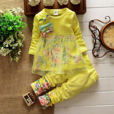 UK Toddler Kids Baby Girls Floral T Shirt Tops Dresses Pants Outfits Set Clothes Hot Pink 6-12 Months