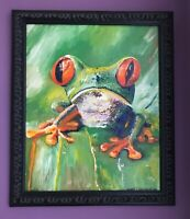 "Frog 19""x23"" Original Oil Painting Framed Signed Art by Artist Wood Frame AOC"