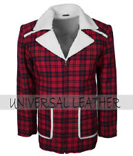 Dead Pool Ryan Reynolds  Men's Red Fur Lined Cotton Winter Leather Coat Costume