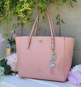 COACH 36454 pink TOTE HANDBAG Shoulder Bag crossgrain leather satchel purse