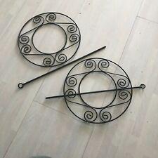 Raffhalter Gardinenspange Ø 20 cm schwarz Metall mit Stift Gardinenhalter