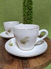 VTG Set (4) Cup & Saucer w Fern Plant Leaf Print & Gold Trim Boho Country Nature