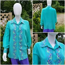 b7a4a997ef2bf1 Vintage DVF silk mint green blouse w lavender floral embroidery L