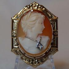Antique Carnelian Shell Habille Cameo Pin/Brooch/Pendant 10K Yellow Gold Frame