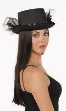 Steampunk Black Satin Top Hat with Ruffle and Netting Costume Accessory fnt