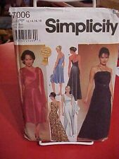 Simplicity 7006 Plus Sizes 12-18,  Ladies/Women's Bias Evening Dresses 2 lengths