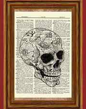 Sugar Skull Dictionary Art Print Picture Poster Goth Halloween Skeleton Day Dead