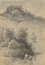 "Otto Arnz ""Near ruin of Burg Scharfeneck, Lower Austria"", drawing, ca. 1850"