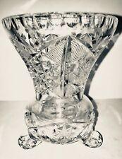 Retro Czech Bohemian hand floral engraved blown crystal glass flower vase