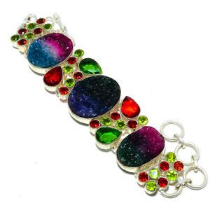 "Rainbow Quartz Drusy & Multi 925 Sterling Silver Ethnic Bracelet 7.99"" AMB-475"