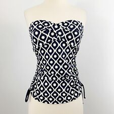 e6a301d279b80 BODEN SWIMMING Amalfi Bandeau Tankini Top WB099 Size US 4 Blue Ivory  Strapless