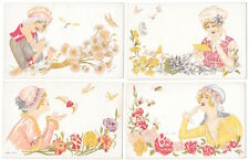 Four Xavier Sager Artwork Postcards Woman in Love w/ Hearts & Flowers~105384