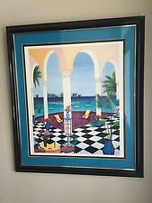 LEDAN FANCH PATIO OVER TINY ISLAND SERILITHOGRAPH  COLOR WOVEN PAPER FRAMED