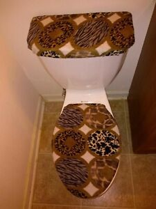 Wild Safari Animal Prints Fleece Toilet Lid & Tank Cover Set