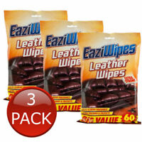 3 x EAZIWIPES LEATHER WIPES EXTRA STRONG WET WIPE REMOVES DIRT 60 PACK 16 x 20cm