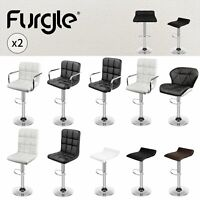 Set of 2 Modern Square PU Leather Adjustable Bar Stools with Back Swivel Stool