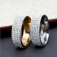 Couple Gold Silver Men/Women's Rings CZ Stainless Steel Wedding Band Ring
