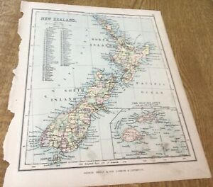 Antique Map New Zealand  Phillips Atlas For Beginners 1892 9Inches By 7.inch