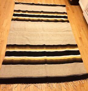 Vintage Beautiful Handmade Wool Flat Weave Rug 7'x4.5' Gd/Cond L.A,Cal pu/del