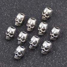 Skull Beads Ring Dreadlock 4mm Hole Punk Rock Hair Jewelry Metal Decor New 10x