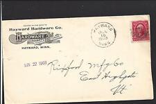HAYWARD,MINNESOTA COVER,1903, ADVT HAYWARDE HARDWARE CO. FREEBORN CO 1864/OP.