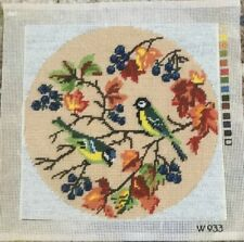 Fab Completed Needlepoint Tapestry Coal Tits On A Autumn Branch