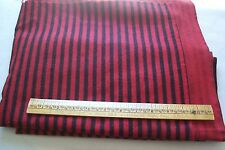 Vtg Antique 1800's Cotton Black and Red Striped Flannel 2 Yards + Xmas/Santa