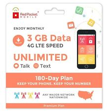 Red Pocket Mobile Premium 180 Day Prepaid Phone Plan No Contract SIM Kit